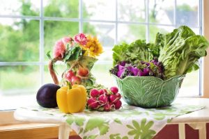 assorted vegetables by a window