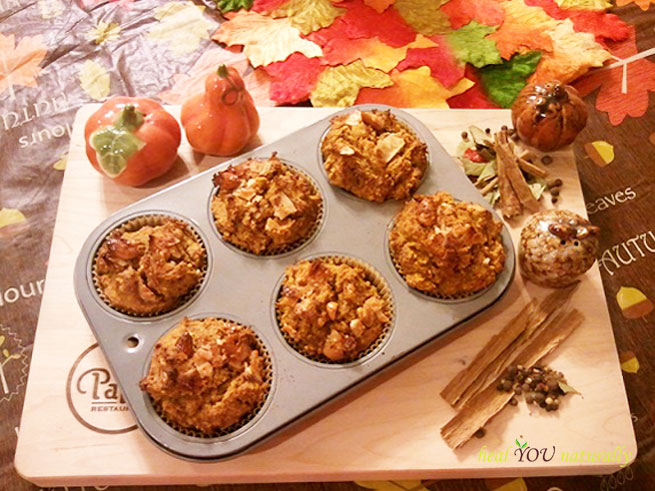 Pumpkin-Apple Muffins: Gluten Free,Sugar Free, Grain Free