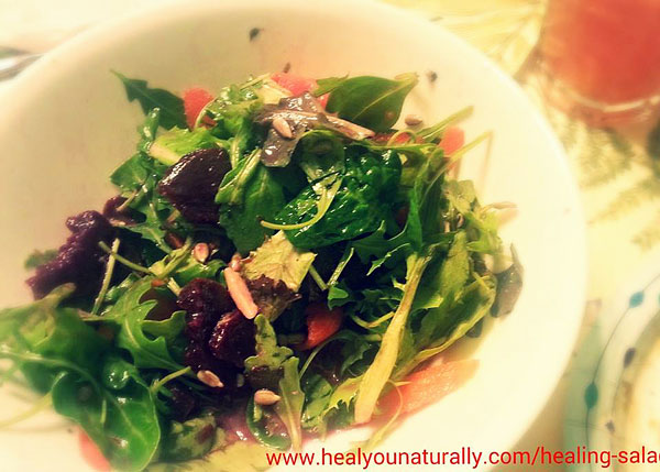 Enzymes & Probiotic Charged Healing Salad Featuring: Lacto-Fermented Beets