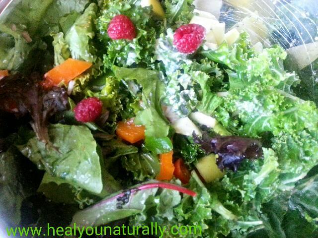 Antioxidants, Probiotics Healing Salad with Sweet Creamy Dressing