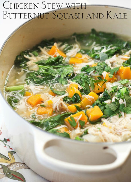 Chicken Fall Stewe with Butternut Squash and Kale