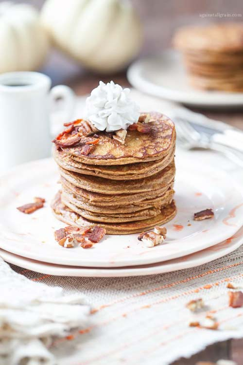 Pumpkin-pancakes-bacon-and-pecans
