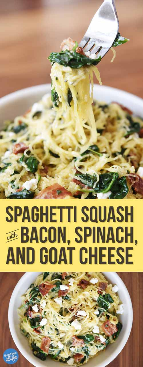 Spaghetti Squash with Bacon Spinach and Goat Cheese