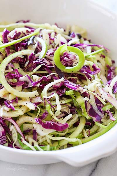 Spiralized Apple Cabbage Slaw memorial day recipes