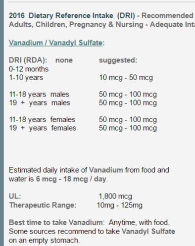 recommended dose vanadium