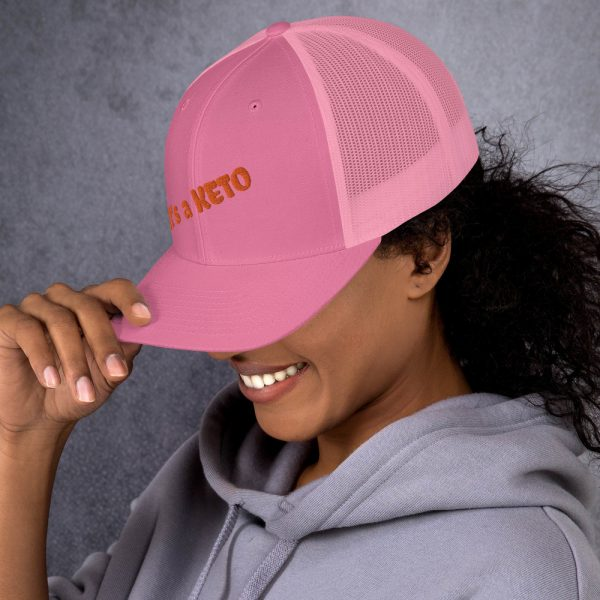 pink hat keto letters side view