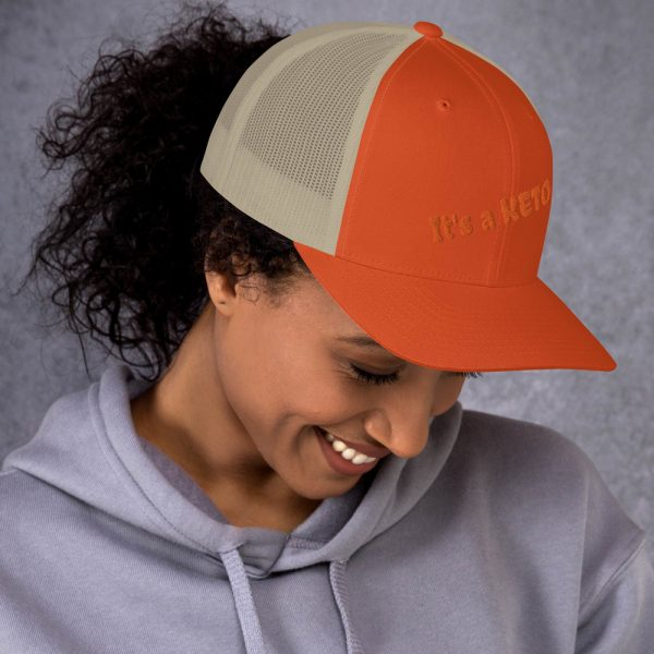 orange beige hat keto letters