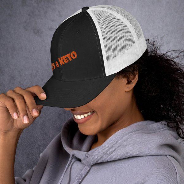 black white hat keto writing side view