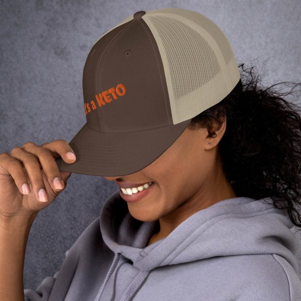brown beige hat keto letters side