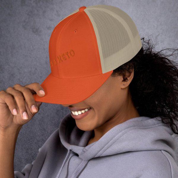 orange beige hat keto letters side view