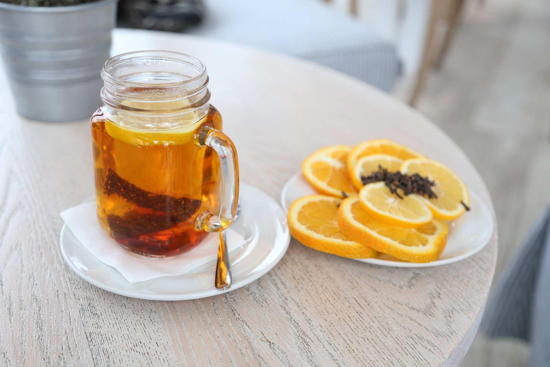 lemon turmeric glass drink